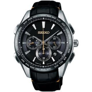 【SEIKO 精工】Brightz鈦計時太陽能電波腕錶-黑/42mm(8B92-0AP0C  SAGA221J)