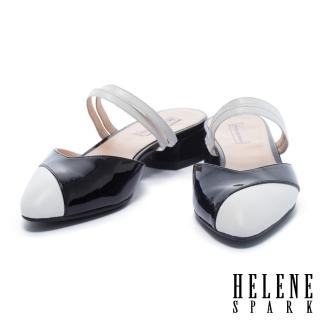 【HELENE SPARK】復古撞色異材質拼接尖頭繫帶低跟拖鞋(黑)