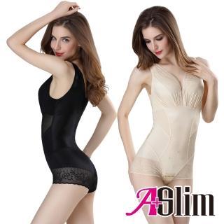 【A+Slim】蠶絲能量石燃脂無痕收腹連身雕塑衣(1件組)