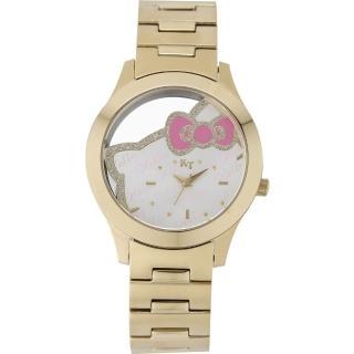 【HELLO KITTY】凱蒂貓簍空俏麗手錶(金 LK677LKWI)