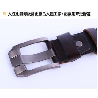 【ZK】英倫復古高質感穿針式牛皮腰帶皮帶 附ZK2010 打孔針(ZK2009BK黑色)