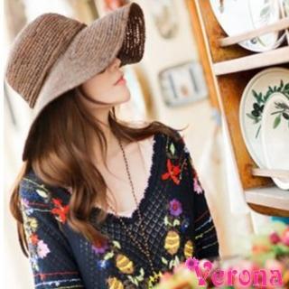 【Verona】森林系大帽簷可摺疊式遮陽帽海灘帽
