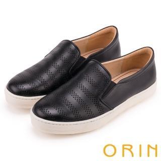 【ORIN】引出度假氣氛 沖孔牛皮休閒平底便鞋(黑色)