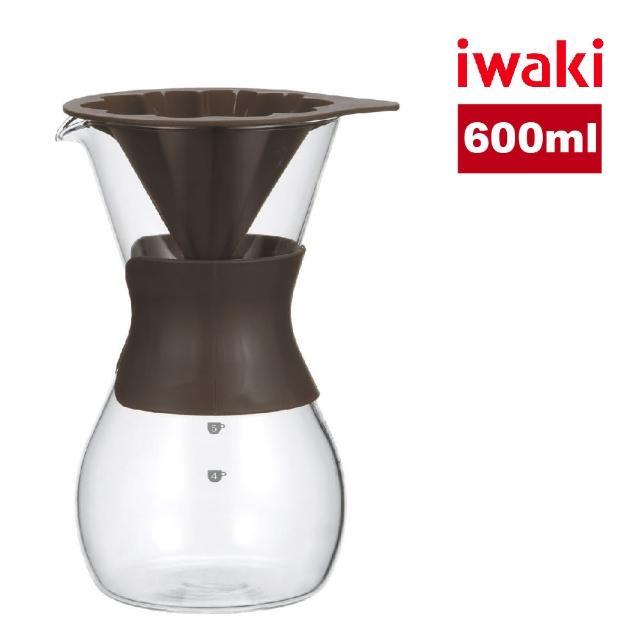 【iwaki】日本品牌耐熱玻璃花型濾杯咖啡壺600ml/