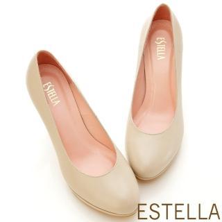 【ESTELLA】全真皮時尚厚底高跟鞋(奶茶可可)