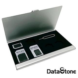 【DataStone】SIM多用途轉接卡+單層超薄型(Slim鋁合金7格收納盒銀)