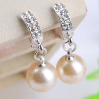 【RJNEWYORK】U型流線水鑽珍珠垂墜夾式耳環(銀色)
