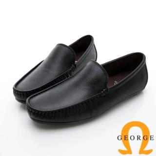 【GEORGE 喬治皮鞋】舒適系列 經典素面樂福鞋休閒鞋-黑