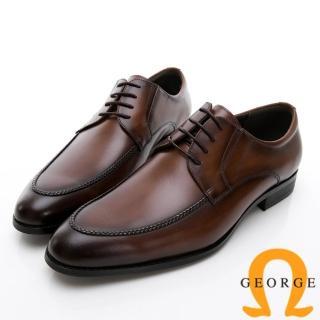 【GEORGE 喬治皮鞋】商務系列 圓頭立體楦頭紳士皮鞋-咖