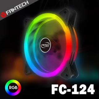 【FANTECH】雙光圈RGB燈效靜音風扇(FC-124)