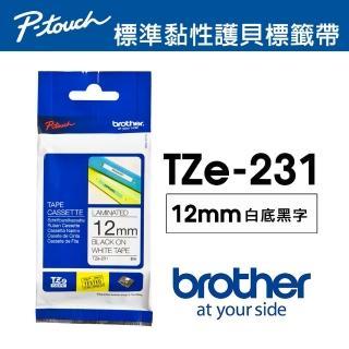 【Brother】TZe-231 護貝標籤帶 12mm 白底黑字(速達)