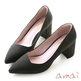 【amai】就是一雙好穿的粗跟鞋(黑)