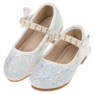 【布布童鞋】珍珠鍊帶冰藍亮片白色兒童公主鞋(R8G266M)