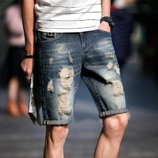 【NBL】L03396B韓版藍色破洞牛仔短褲(韓版潮流刷洗破洞牛仔短褲)