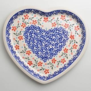 【波蘭陶】藍印紅花系列 愛心造型餐盤 波蘭手工製