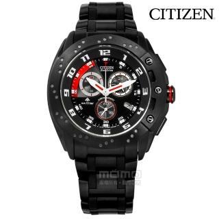 【CITIZEN】光動能 藍寶石水晶 計時 日本製造 防水100米 不鏽鋼手錶 鍍黑 45mm(AT0729-51E)