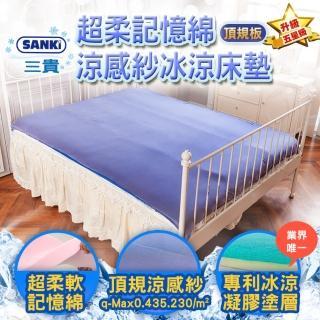 【SANKI 三貴】超柔記憶綿雙面涼感紗冰涼床墊(150*200)