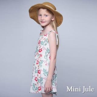 【Mini Jule】洋裝 紅花綠葉綁帶細肩帶洋裝(白)