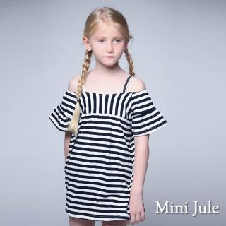 【Mini Jule】洋裝 一字領條紋吊帶傘袖洋裝(丈青)