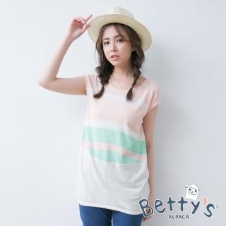 【betty's 貝蒂思】撞色無袖針織衫(淺粉)
