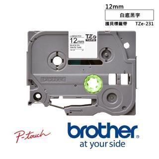 【Brother標籤帶5入組】TZe-231  12mm 白底黑字護貝標籤帶