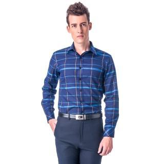 【金安德森】深藍底藍黃大線格保暖窄版長袖襯衫