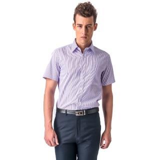 【金安德森】紫色條紋窄版短袖襯衫