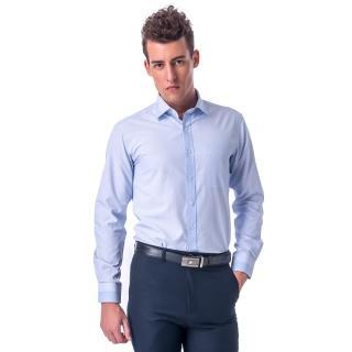 【金安德森】藍色格紋變化領圓點窄版長袖襯衫