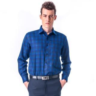 【金安德森】藍底藍綠大格厚暖長袖襯衫