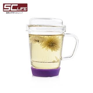 【SC Life】三件式玻璃泡茶杯(紫色)