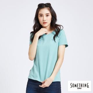 【SOMETHING】簡約刺繡圓T(灰綠色)