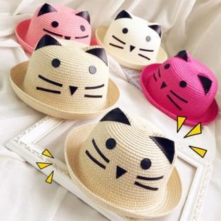 【PS Mall】百搭可愛貓咪兒童草帽遮陽帽(B002)