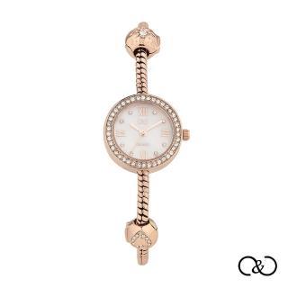 【C&C】義大利潘朵拉款氣質鍊錶(玫瑰金×晴空白)