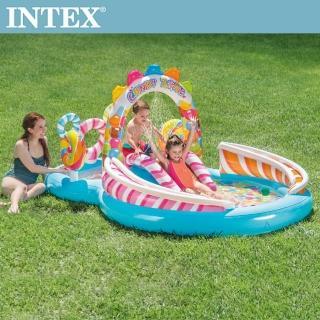 【INTEX】糖果屋戲水游泳池滑水道295x191x130cm_374L 適用3歲+(57149)