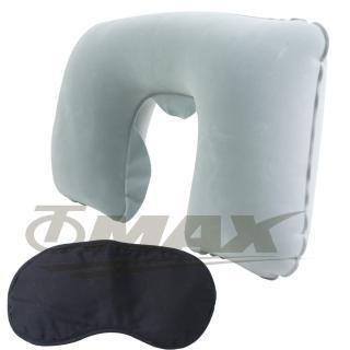 【OMAX】舒適植絨頸枕1入+高級眼罩1入
