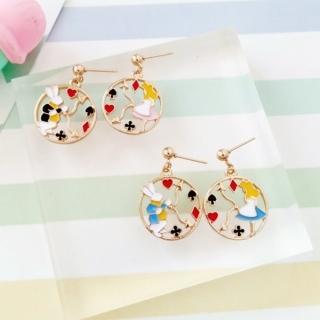 【梨花HaNA】無耳洞韓國夢境遊戲艾莉絲與兔子耳環耳夾(耳夾)