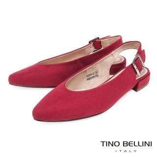 【TINO BELLINI 貝里尼】簡約尖楦金屬側釦帶平底鞋F83006(紅)