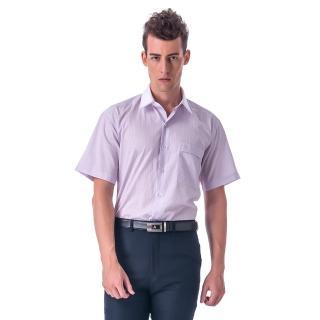 【金安德森】紫黃條紋白領短袖襯衫-fast