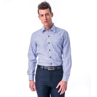 【金安德森】白底深淺藍條紋變化門襟窄版長袖襯衫-fast