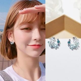 【梨花HaNA】韓國925銀針空靈淡雅藍綠蝶花環繞耳環