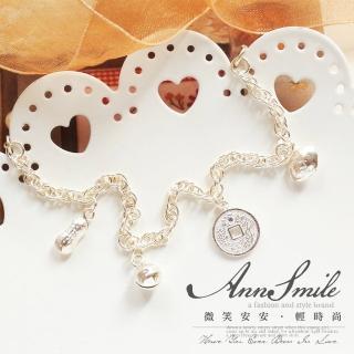 【微笑安安】吉祥如意錢幣吊墜鈴鐺925純銀兒童手鍊(彌月銀飾)