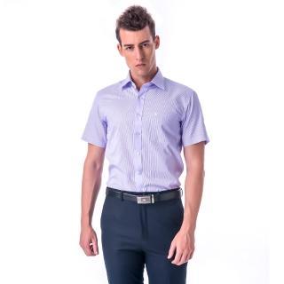 【金安德森】藍色變化領窄版短袖襯衫