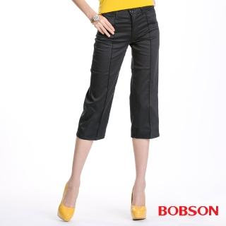 【BOBSON】女款直筒七分褲(黑115-88)
