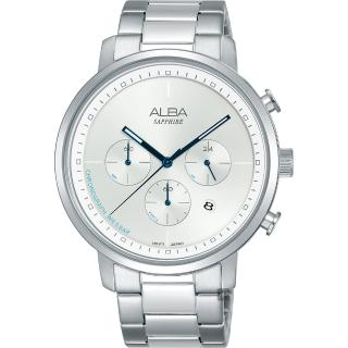 【ALBA】Tokyo Design 原創計時手錶-銀/42mm(VD53-X313S  AT3E03X1)