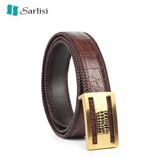 【Sarlisi】真皮鱷魚皮皮帶商務腰帶(輕奢真皮腰帶石頭紋扣)