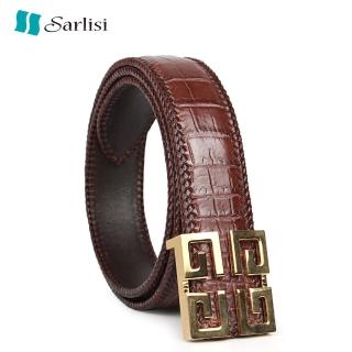 【Sarlisi】真皮鱷魚皮皮帶商務腰帶(輕奢真皮腰帶方扣)