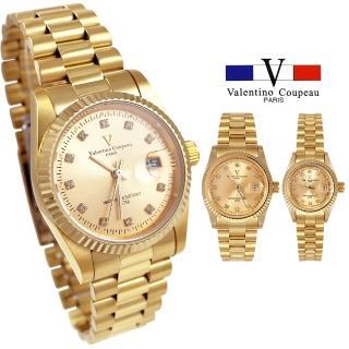 【Valentino Coupeau】范倫鐵諾 古柏 經典全金白鑽不鏽鋼殼帶防水男女款手錶(兩款)