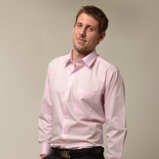 【金安德森】粉紅色基本款長袖襯衫-fast