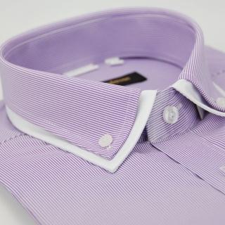 【金安德森】紫色條紋雙領窄版短袖襯衫-fast