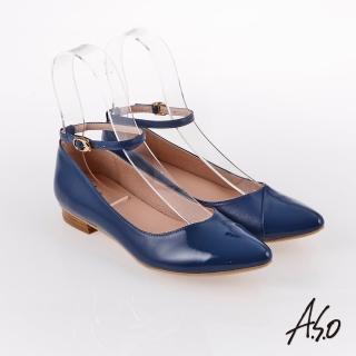 【A.S.O 阿瘦集團】百變女伶 時尚亮面奈米低跟鞋(藍色)